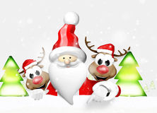 Santa Claus and Reindeers Royalty Free Stock Photo