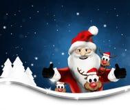 Santa Claus and Reindeers winter landscape background 3d renderi Stock Photo