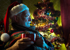 Santa Claus relaxing at home Royalty Free Stock Photography