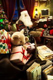 Santa Claus relaxing at home Stock Photo
