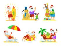 Santa Claus Relaxing, la Navidad en vector de la playa libre illustration