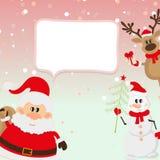 Santa Claus, Ren, Schneemann, Schneehintergrund Lizenzfreies Stockfoto