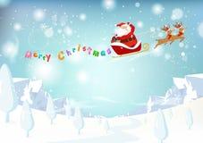 Santa Claus, rendier, de fantasiesneeuw dalend p van het berglandschap royalty-vrije illustratie