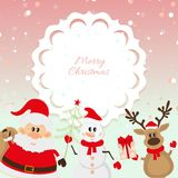 Santa Claus, rendier, sneeuwman op roze achtergrond Stock Fotografie