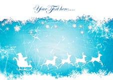 Santa Claus, rendier, sneeuwvlokken op de achtergrond van het ijspatroon Stock Foto's