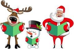 Santa Claus-rendiersneeuwman het zingen Kerstmishymne stock illustratie