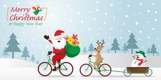 Santa Claus, renna, biciclette di riciclaggio del pupazzo di neve Fotografie Stock Libere da Diritti