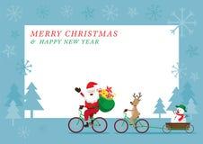 Santa Claus, renna, biciclette di riciclaggio del pupazzo di neve Fotografie Stock