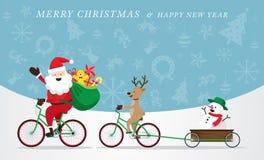 Santa Claus, renna, biciclette di riciclaggio del pupazzo di neve Fotografia Stock