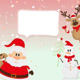 Santa Claus, renna, pupazzo di neve, fondo della neve Fotografia Stock Libera da Diritti