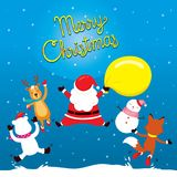 Santa Claus, renne, bonhomme de neige et ami sautant sur la congère illustration stock