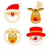 Santa Claus, reno, muñeco de nieve y ovejas Foto de archivo libre de regalías