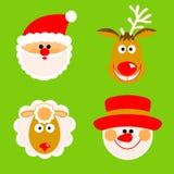Santa Claus, reno, muñeco de nieve y ovejas Fotos de archivo