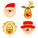 Santa Claus, reno, muñeco de nieve y ovejas Imágenes de archivo libres de regalías