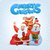Santa Claus, reno y muñeco de nieve haciendo selfie la tarjeta de la Feliz Navidad Imágenes de archivo libres de regalías
