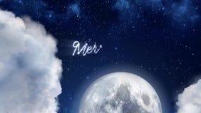 Santa Claus-Rentrickserei-Schattenbildfliegen im Mondschein, in der Mitteilung der frohen Weihnachten, im Textraum für Logoart od stock video