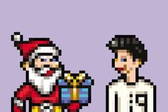 Santa retro 8 bit - pixel art style illustration. Santa claus retro 8 bit - pixel art style illustration royalty free illustration