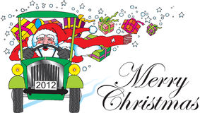 Santa claus with retro car and gifts Stock Photography
