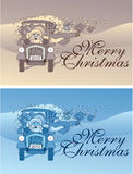 Santa claus with retro car and gifts Stock Photos