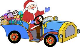 Santa Claus and retro car Royalty Free Stock Photos