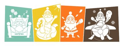 Santa Claus Retro Four Seasons Lifestyle Royalty-vrije Illustratie