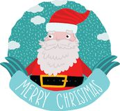Santa Claus with ribbon. Christmas background Royalty Free Stock Photography