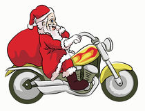 Santa claus ridding motorcycle. Santa claus with cute face riding yellow motorcycle Royalty Free Stock Photography