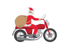 Santa Claus ride a Classic Motobike Royalty Free Stock Photography