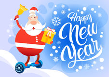 Santa Claus Ride Electric Hover Board Happy New Year Holiday Merry Christmas Stock Image