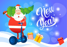 Santa Claus Ride Electric Scooter Carry Christmas Tree Holiday Happy New Year Greeting Card Stock Photo