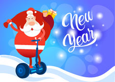 Santa Claus Ride Electric Scooter Christmas Holiday Happy New Year Greeting Card Stock Photos