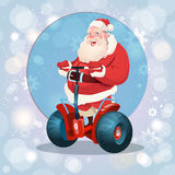 Santa Claus Ride Electric Scooter Christmas Holiday Happy New Year Greeting Card Stock Photo