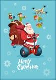 Santa Claus Ride Electric Segway, cartão do ano novo do feriado do Natal da entrega do presente do zangão do voo do duende Fotos de Stock Royalty Free