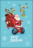 Santa Claus Ride Electric Segway, Elf Flying Drone Present Delivery Christmas Holiday New Year Greeting Card Royalty Free Stock Photos