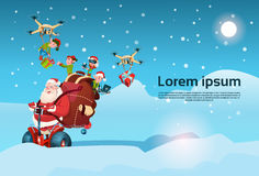 Santa Claus Ride Electric Segway Scooter, Elf Flying Drone Present Delivery Christmas Holiday New Year Royalty Free Stock Photography