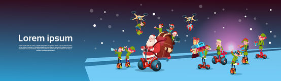 Santa Claus Ride Electric Segway Scooter, Elf Flying Drone Present Delivery Christmas Holiday New Year Royalty Free Stock Image