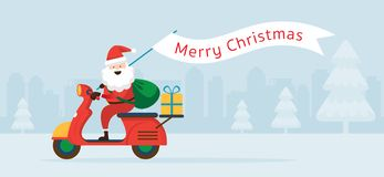Santa Claus Ride Scooter with Christmas Flag royalty free illustration