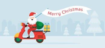 Santa Claus Ride Scooter con la bandera de la Navidad imagen de archivo