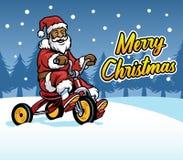 Santa Claus Ride Three Wheel Bicycle vektor abbildung