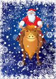 Santa Claus rides on bull Stock Photos