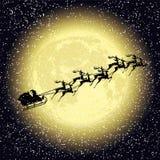 Santa claus rides on deer vector illustration