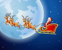 Santa Claus rides reindeer sleigh against a full moon background Royalty Free Stock Image