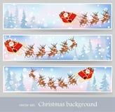 Santa Claus rides reindeer sleigh Royalty Free Stock Image