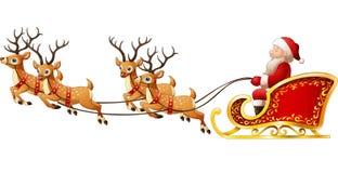 Santa Claus rides reindeer sleigh on Christmas. Illustration of Santa Claus rides reindeer sleigh on Christmas Royalty Free Stock Photos