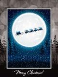 Santa Claus rides in a reindeer sleigh Stock Illustration