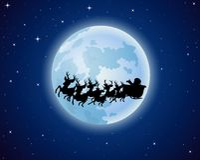 Santa Claus rides reindeer sleigh silhouette against a full moon background Stock Photos