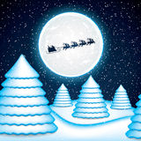 Santa Claus rides in a reindeer sleigh Vector Illustration