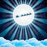 Santa Claus rides in a reindeer sleigh Stock Photos