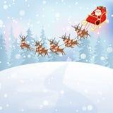 Santa Claus rides reindeer sleigh Stock Image