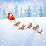 Santa Claus rides reindeer sleigh Stock Images
